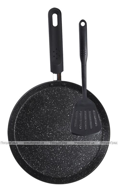 Сковорода блинная Wellberg Hallein Ø24см с нейлоновой лопаткой, мраморное антипригарное покрытие
